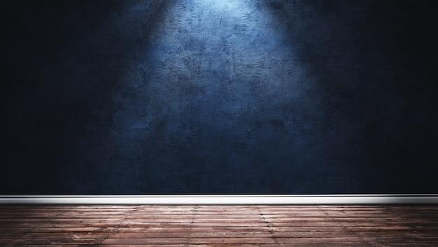 Ilustración de la representación 3d de la habitación moderna grande con pared de yeso azul, piso de madera y zócalo blanco. interior con focos brillantes.