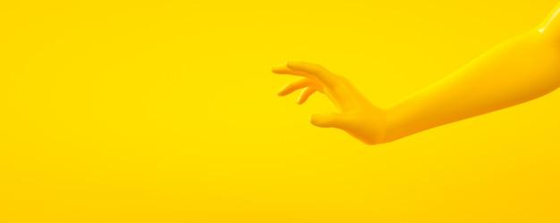 Ilustración de representación 3d de manos amarillas. partes del cuerpo humano.