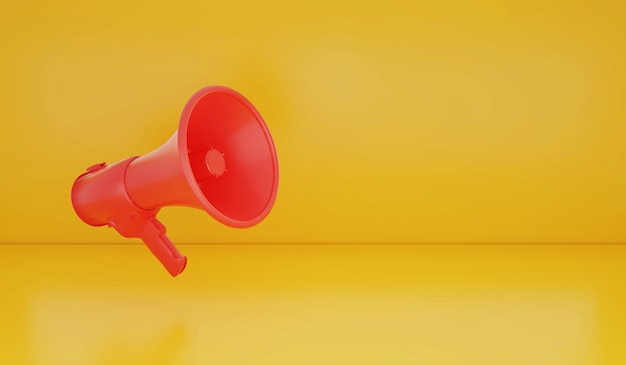 Ilustración de representación 3d de megáfono en el fondo anunciar concepto de venta de fondo de promoción