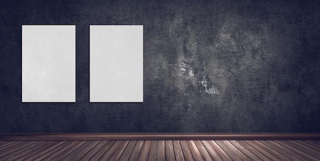 Ilustración de representación 3d de sala de galería abstracta con pared de yeso oscuro, piso de madera y marcos de cartel en blanco.