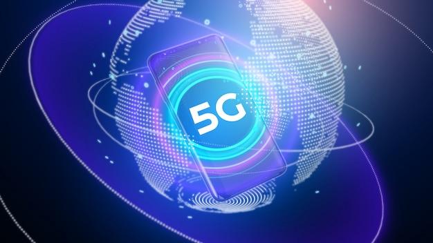 Ilustración de representación 3d de tecnología inalámbrica de red 5g.