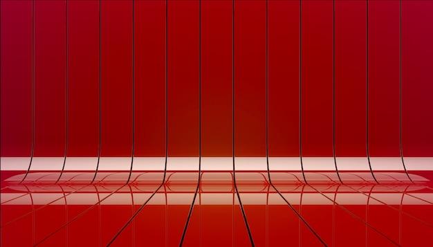 Ilustración roja del fondo 3d de etapa de las cintas.