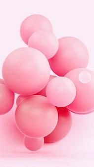 Ilustración rosada de la representación de la composición 3d de la esfera. material ligero de goma suave en estudio brillante. fondo de pantalla creativo de moda.