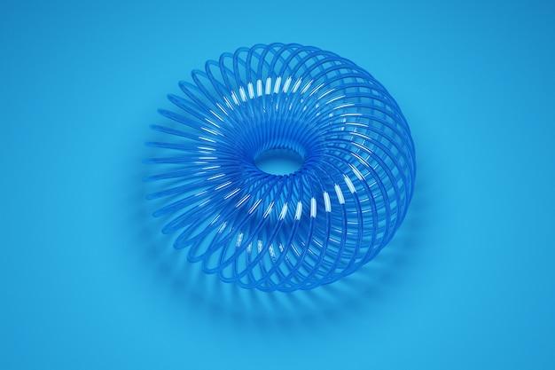 Ilustración de una rueda 3d de una forma inusual hecha de plástico sobre fondo azul. muestra de formas, mecanismos. nuevo lazo para el cabello