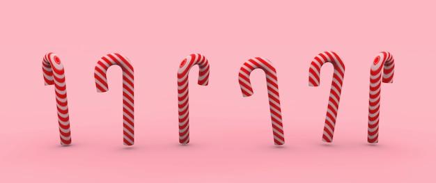 Ilustración de seis caramelos de caña sobre un fondo rosa