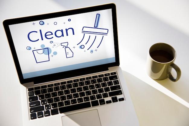 Ilustración del servicio de limpieza del hogar en la computadora portátil