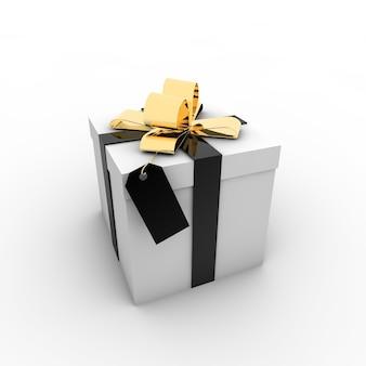 Ilustración simple de una caja de regalo con un lazo sobre un fondo blanco.