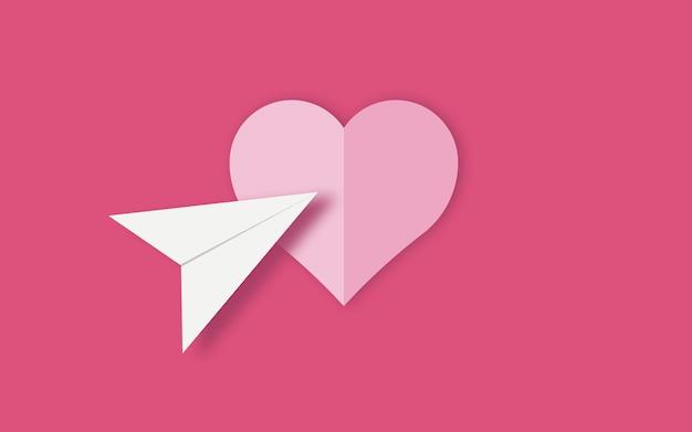 Ilustración simple de un corazón y un icono de ubicación sobre un fondo rosa