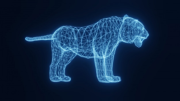 Ilustración de un tigre que brilla intensamente de neón azul de una cuadrícula tridimensional. representación 3d