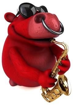 Ilustración de toro rojo divertido