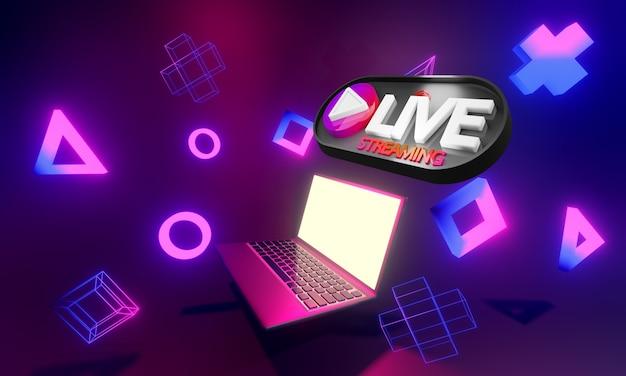 Ilustración de transmisión en vivo de videojuegos en línea