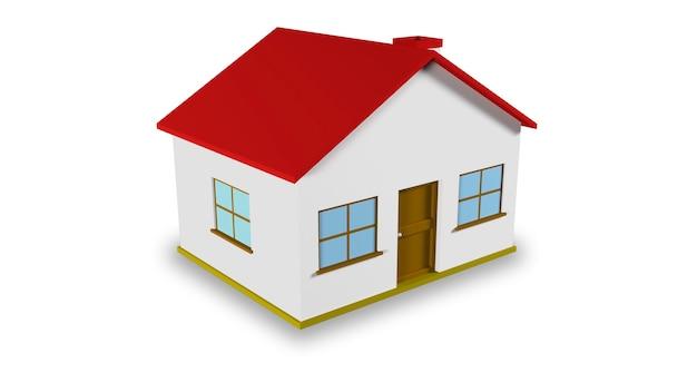 Ilustración tridimensional de una casa sencilla.