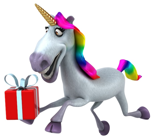 Ilustración de unicornio divertido
