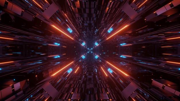 Ilustración de varias luces una al lado de la otra que fluyen hacia un solo punto