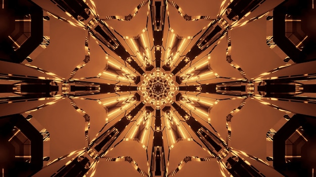 Ilustración de varias luces doradas y marrones en movimiento que fluyen en una dirección