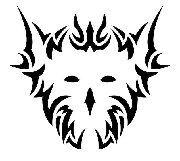 Ilustración de vector de hermoso tatuaje monocromo con patrón tribal negro aislado alrededor de máscara de demonio blanco