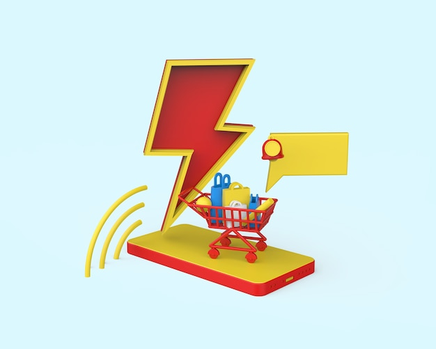 Ilustración de venta flash 3d. render 3d foto premium
