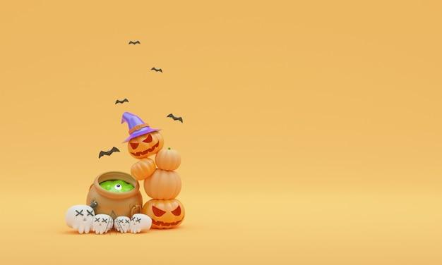 Ilustrador 3d halloween fondo naranja
