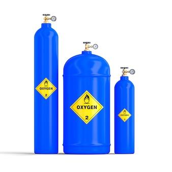 Imagen 3d de cilindros de oxígeno y gas.