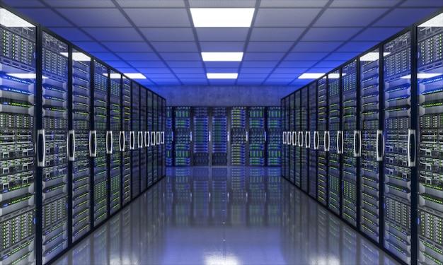 Imagen 3d de la granja de servidores