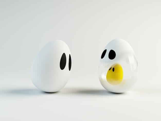 Imagen 3d de un huevo de toon. el embarazo