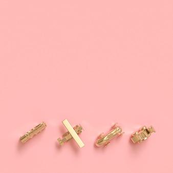 Imagen en 3d de juguetes de color dorado en estilo plano laico.