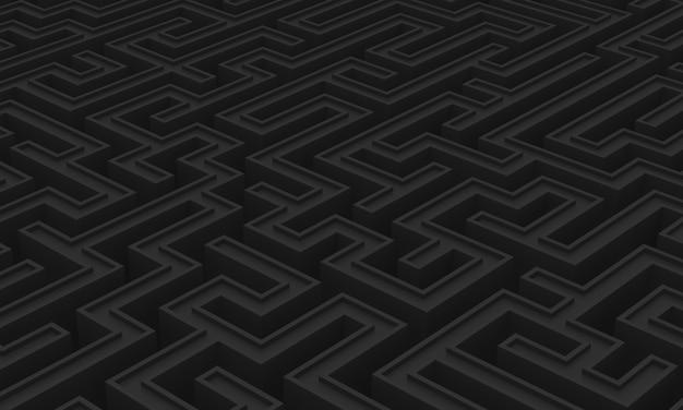 Imagen en 3d de un laberinto en tonos negros.