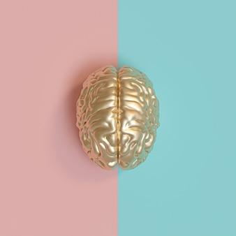 Imagen 3d rednering de un cerebro humano de oro