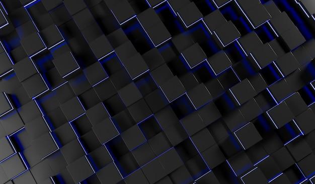 Imagen abstracta del fondo de cubos en luz azul ilustración de representación 3d