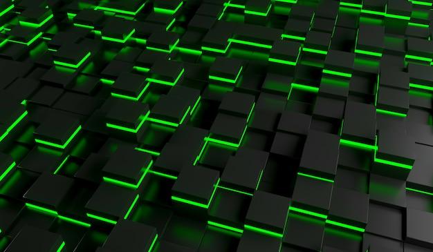 Imagen abstracta del fondo de los cubos en luz verde. ilustración de renderizado 3d