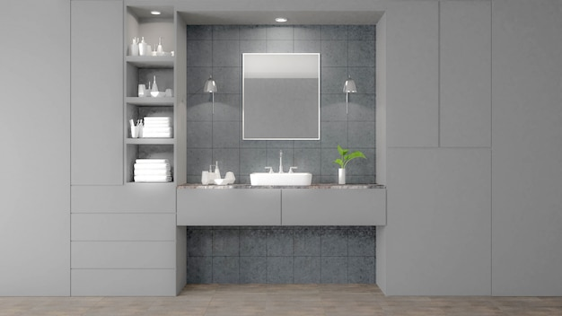 Imagen blanca moderna de la representación del cuarto de baño 3d. hay baldosas grises de pared y piso.