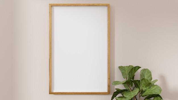 Una imagen en blanco y un marco de póster en la pared.