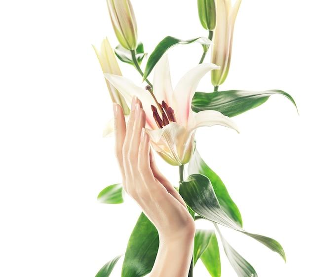 Imagen cercana de la mano de mujer elegante, que está tocando un capullo de flor de orquídea