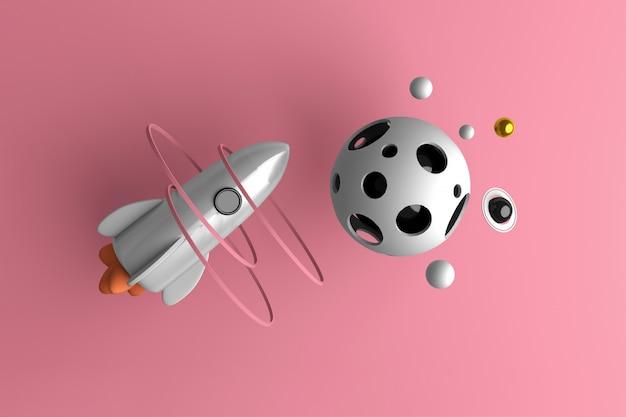 Imagen conceptual de un cohete volando en el espacio