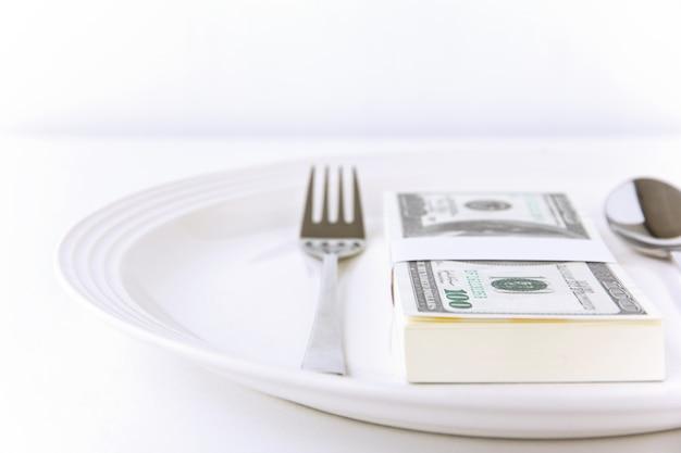 Imagen conceptual de dinero de comida