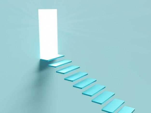 Imagen conceptual con escalera y puerta abierta con luz