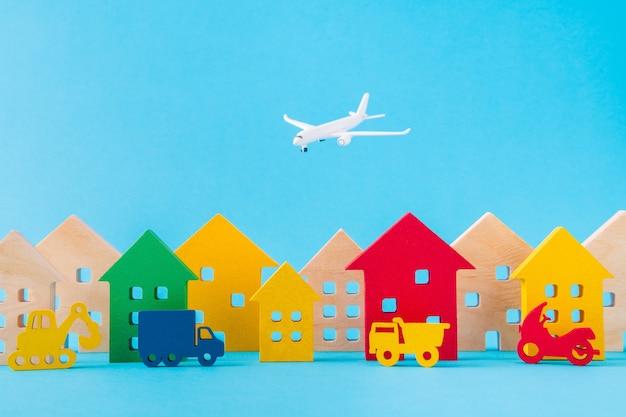 Imagen de diseño de arte de figuras de madera tráfico de asentamiento avión de coche volando