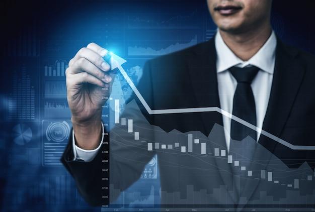 Imagen de doble exposición del crecimiento del beneficio empresarial