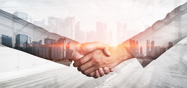 Imagen de doble exposición de negocios y finanzas