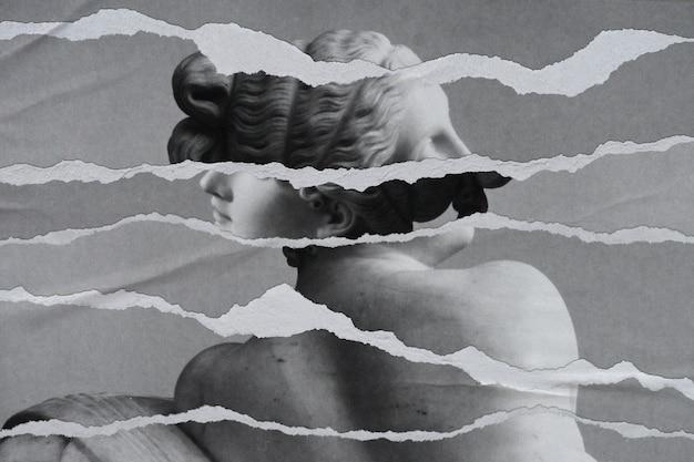 Imagen de la estatua griega de bw en papel rasgado con medios remezclados
