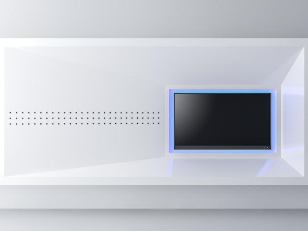 Imagen de estilo minimalista pantalla de televisión vacía render 3d oculte las luces decorativas azules detrás de la televisión