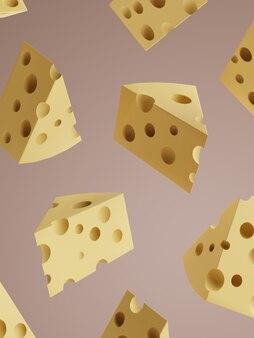 Imagen de estudio de renderizado 3d fondo de visualización de productos de queso de dibujos animados para patatas fritas y queso