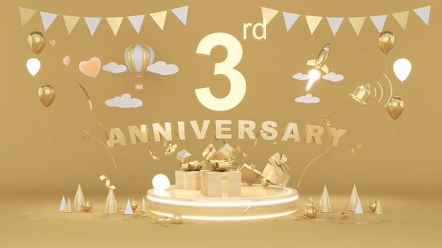 Imagen de fondo dorado para el aniversario de 3 años, 3 años, aniversario, renderizado 3d