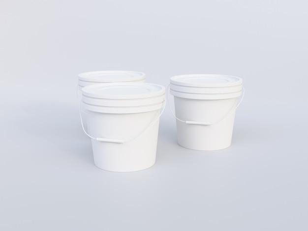 Imagen de maqueta de cubo de pintura de plástico sobre fondo blanco.