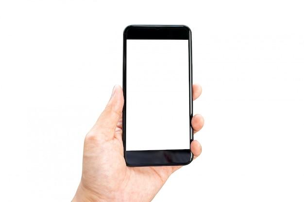 La imagen de la maqueta de la mano de la mujer que sostenía smartphones móviles aisló la pantalla blanca