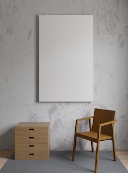 Imagen de maqueta con silla de madera, muro de hormigón, moqueta y marco.