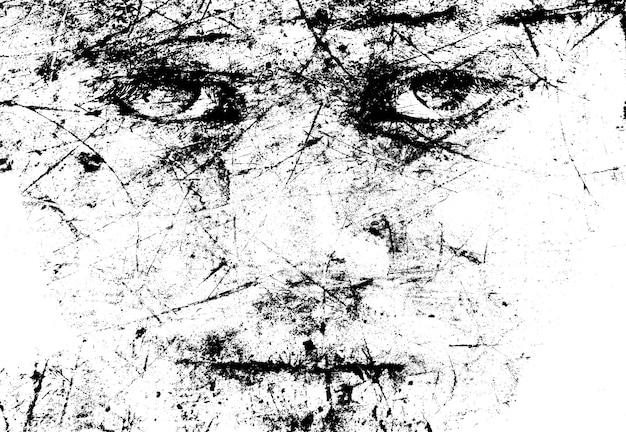 Imagen monocromática de la cara del hombre con grietas y scratch art idea