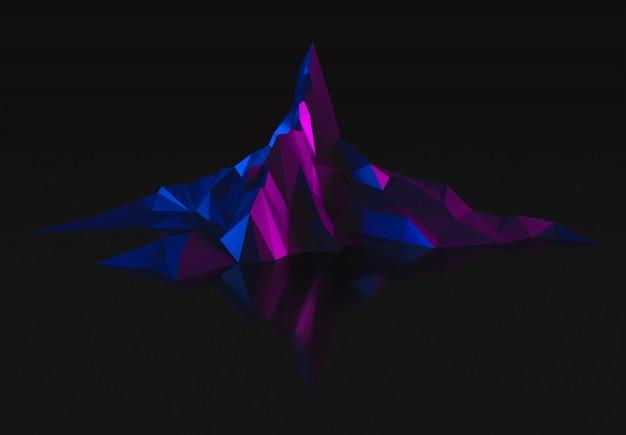 Imagen oscura de baja poli de altas montañas en la ilustración 3d de iluminación ultravioleta