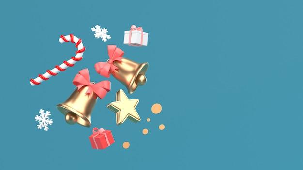 Imagen de procesamiento 3d de navidad año nuevo ornamento aislar en copia espacio fondo azul.