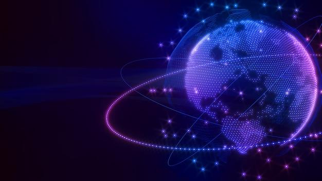 Imagen de la red de comunicación de la imagen del mundo holograma de la imagen de la red informática
